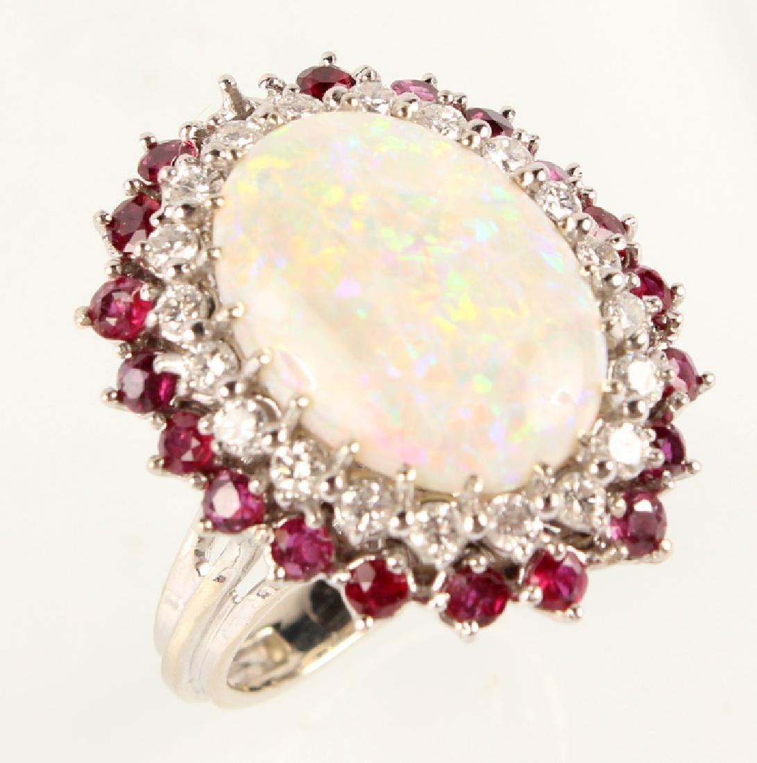 LADIES 14K WHITE GOLD OPAL DIAMOND & RUBY RING