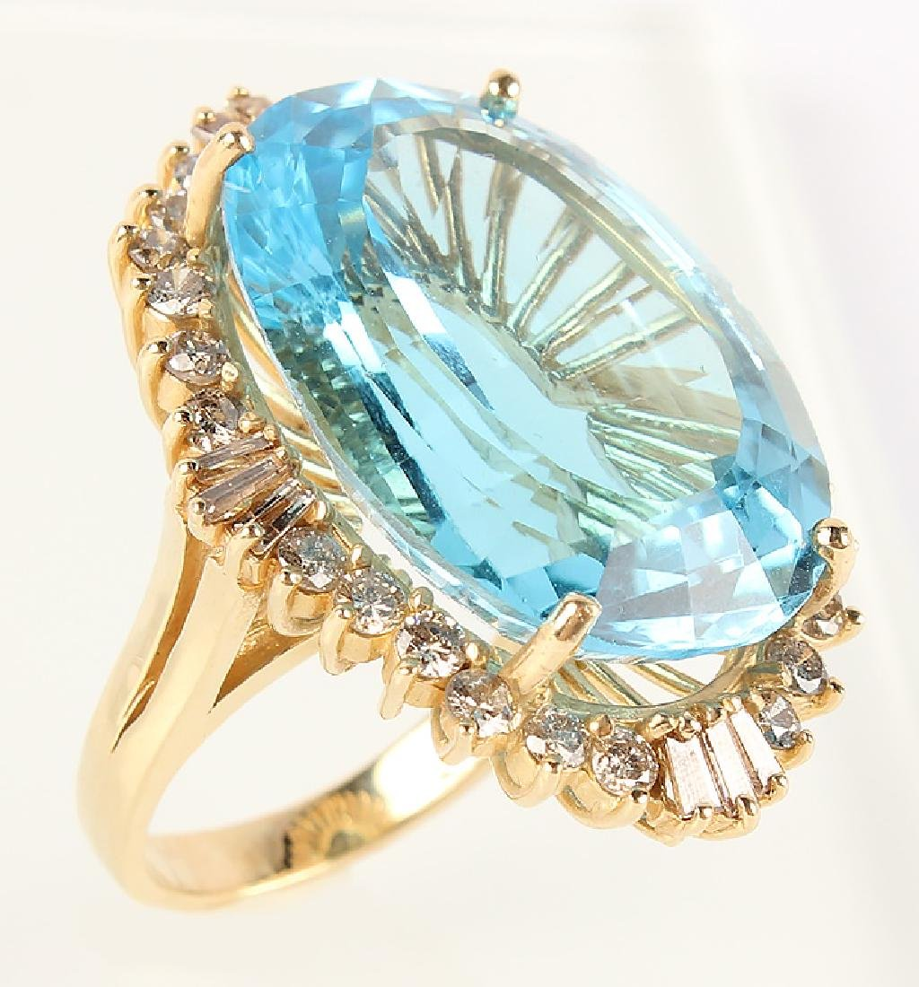 LADIES 14K YELLOW GOLD BLUE TOPAZ DIAMOND RING