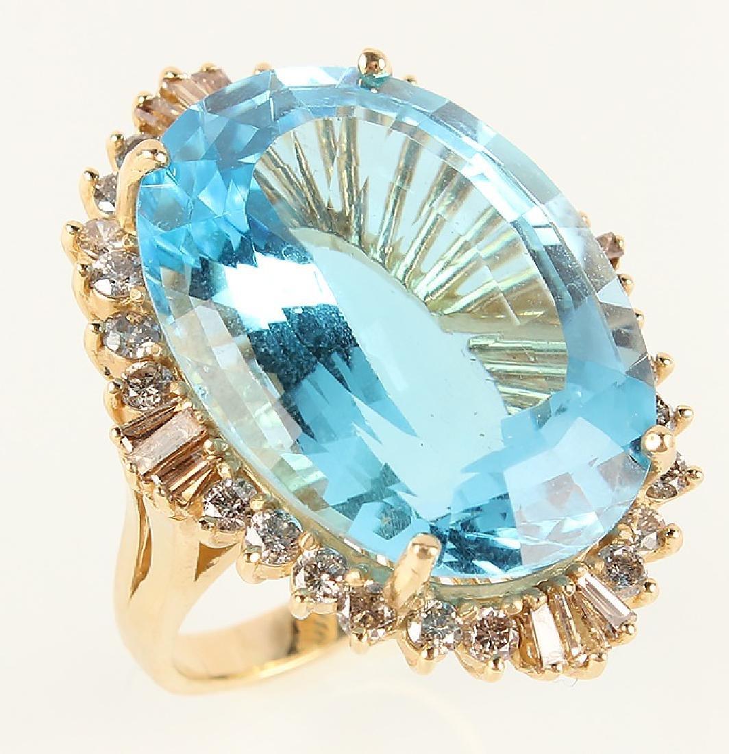 LADIES 14K YELLOW GOLD BLUE TOPAZ DIAMOND RING - 2