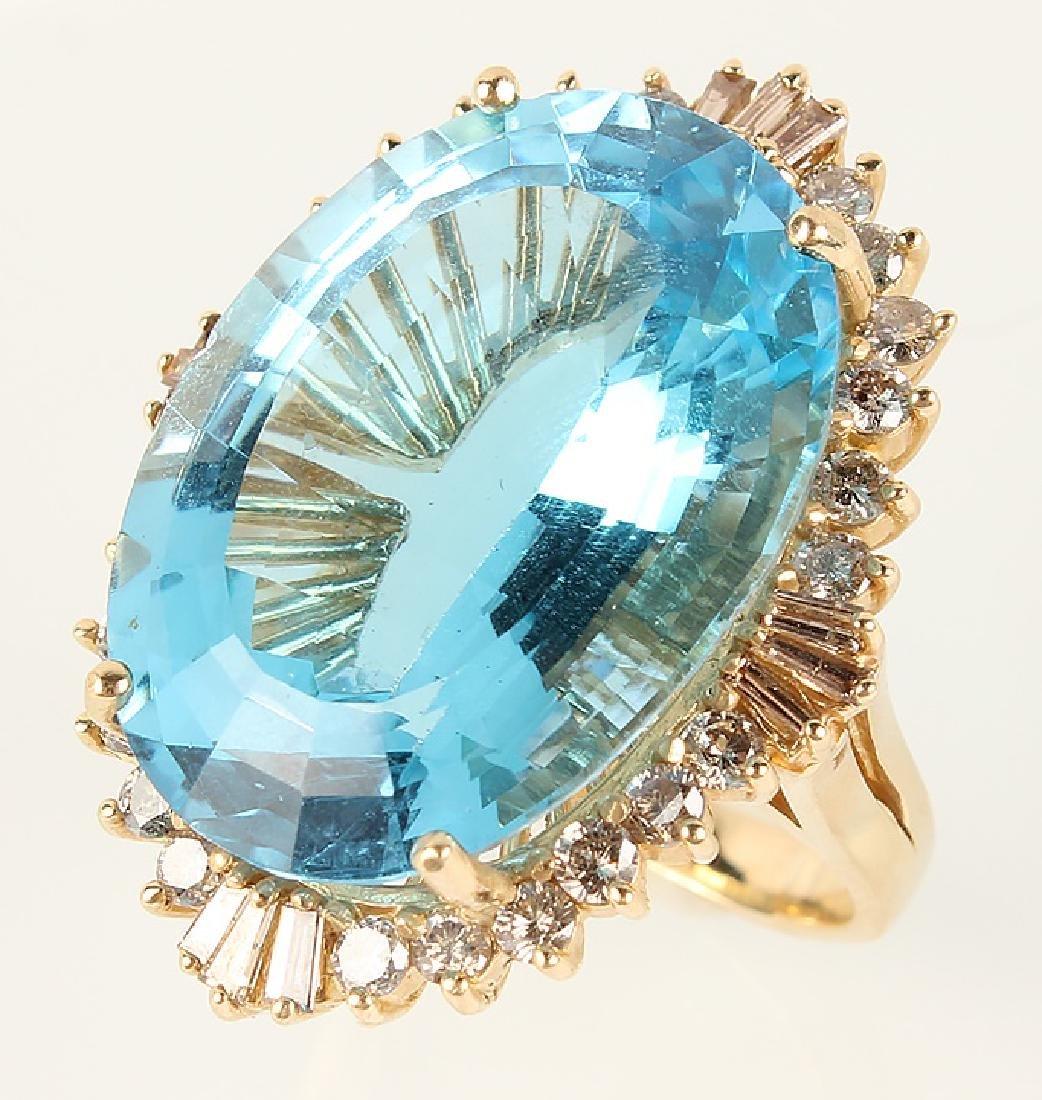 LADIES 14K YELLOW GOLD BLUE TOPAZ DIAMOND RING - 3
