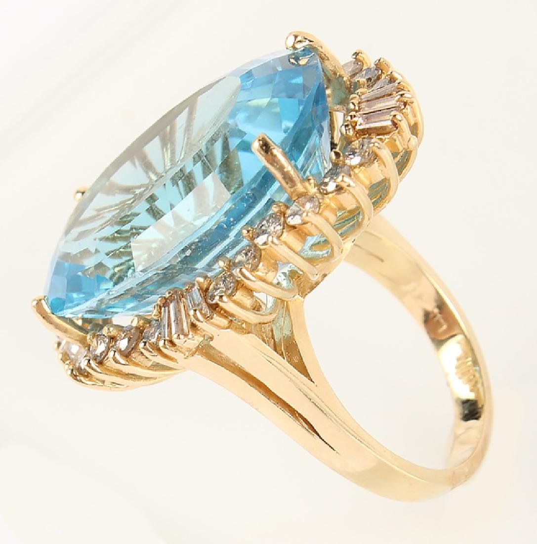 LADIES 14K YELLOW GOLD BLUE TOPAZ DIAMOND RING - 5