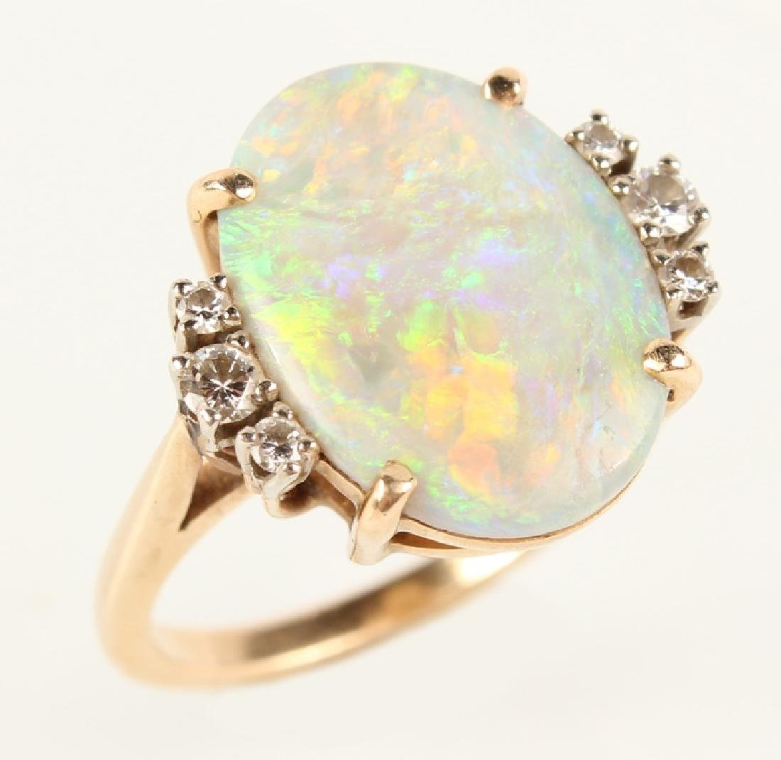 ANTIQUE 14K YELLOW GOLD DIAMOND OPAL RING