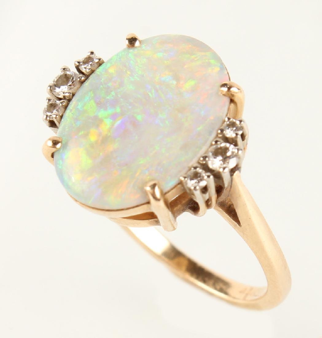 ANTIQUE 14K YELLOW GOLD DIAMOND OPAL RING - 2