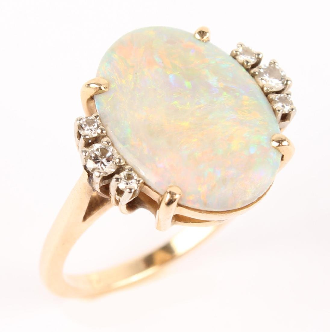 ANTIQUE 14K YELLOW GOLD DIAMOND OPAL RING - 3