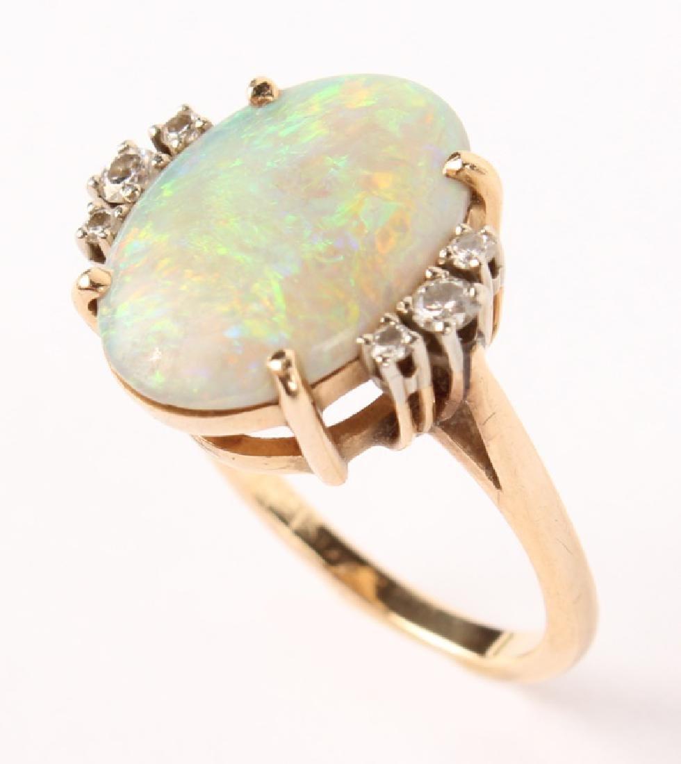 ANTIQUE 14K YELLOW GOLD DIAMOND OPAL RING - 4