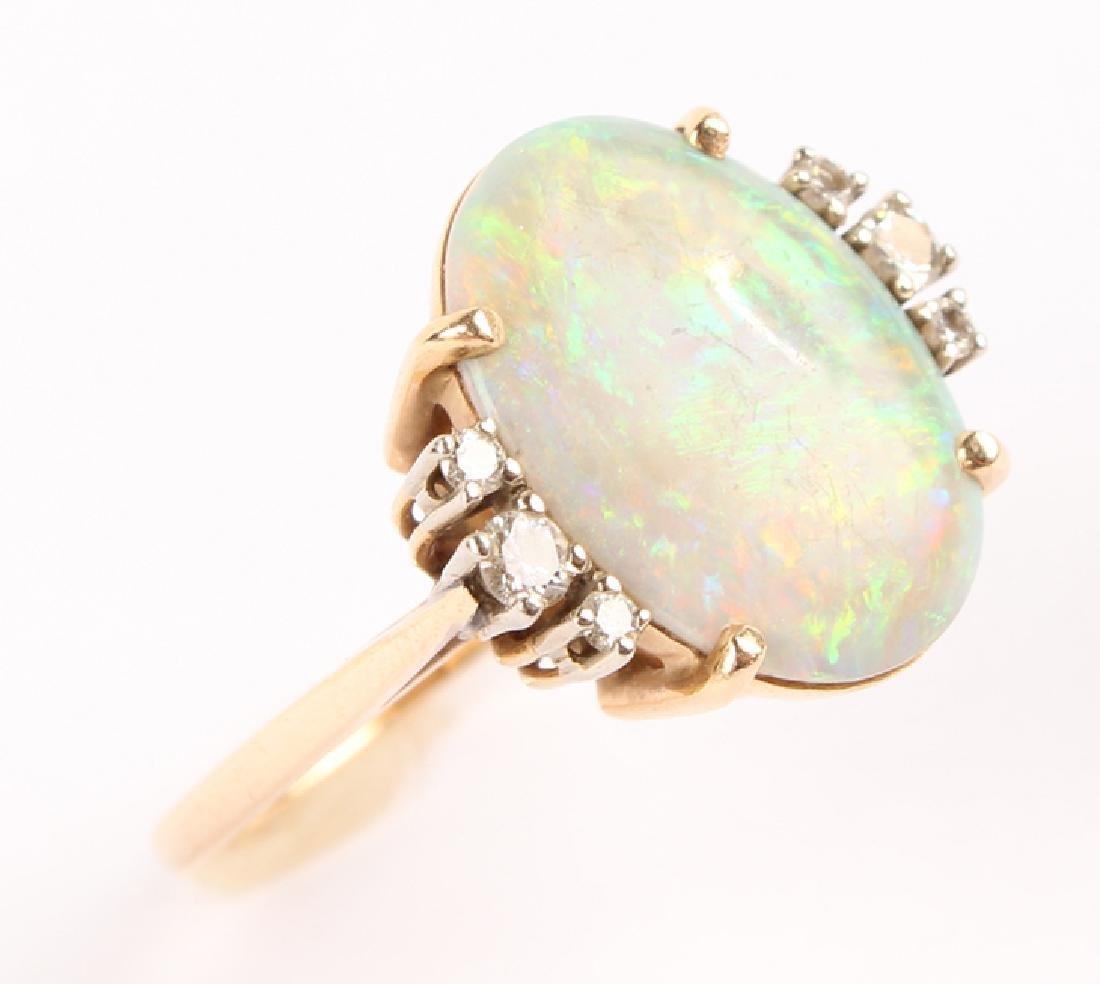 ANTIQUE 14K YELLOW GOLD DIAMOND OPAL RING - 5