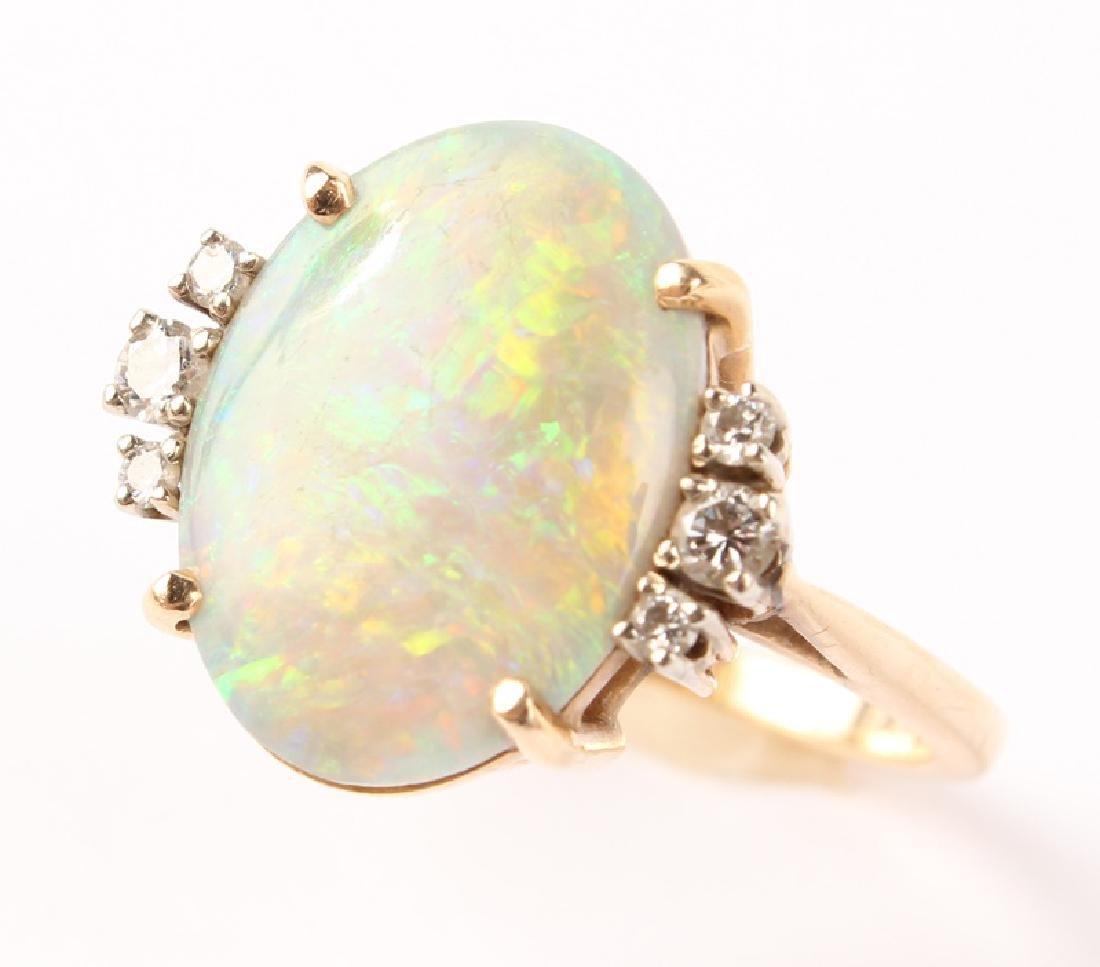 ANTIQUE 14K YELLOW GOLD DIAMOND OPAL RING - 6