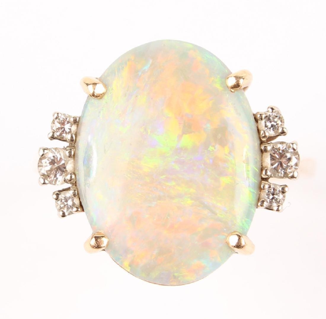 ANTIQUE 14K YELLOW GOLD DIAMOND OPAL RING - 7