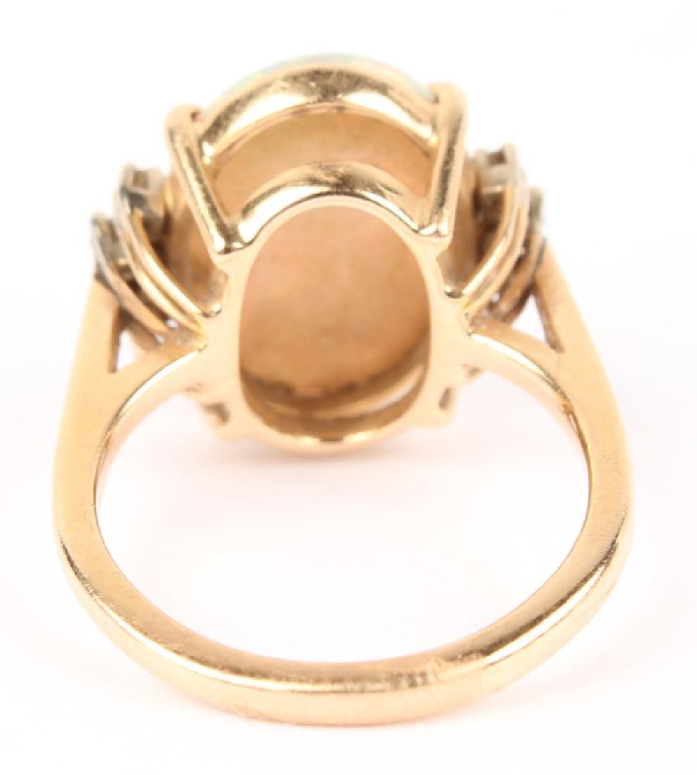 ANTIQUE 14K YELLOW GOLD DIAMOND OPAL RING - 8