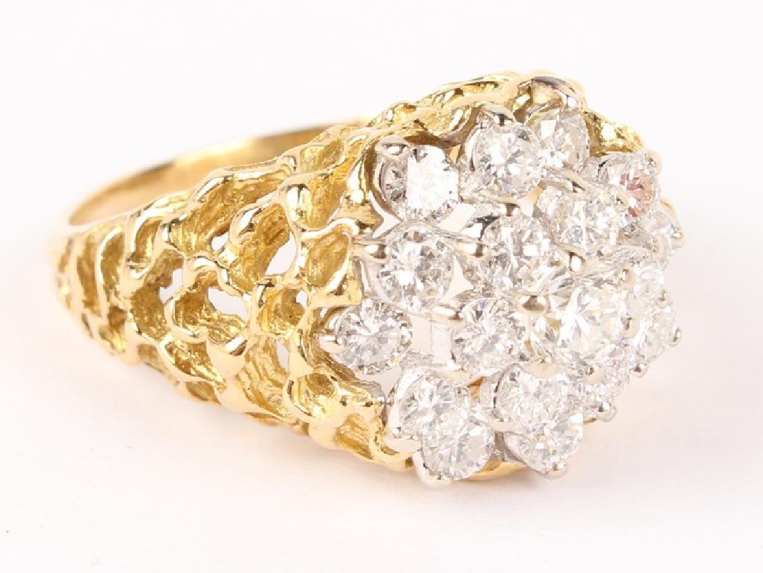 MEN'S 18K YELLOW GOLD DIAMOND CLUSTER RING