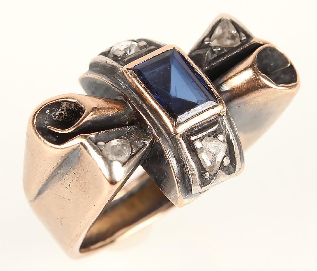 22K YELLOW GOLD SAPPHIRE & DIAMOND RING