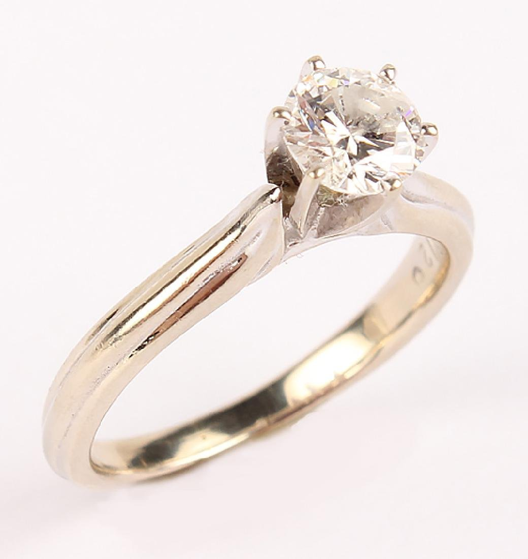 LADIES 14K WHITE GOLD DIAMOND SOLITAIRE RING