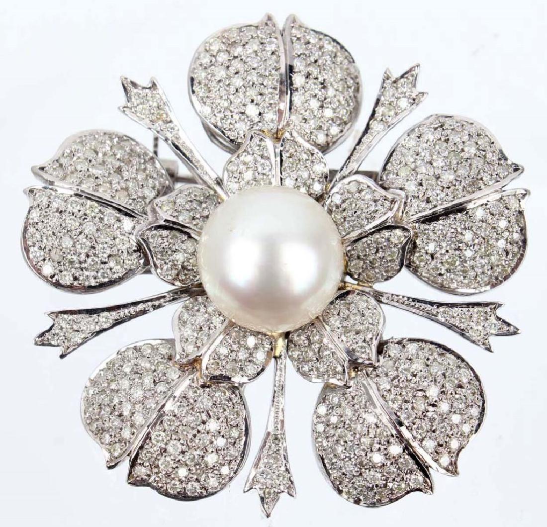 LADIES 14K WHITE GOLD DIAMOND PEARL FLORAL BROOCH