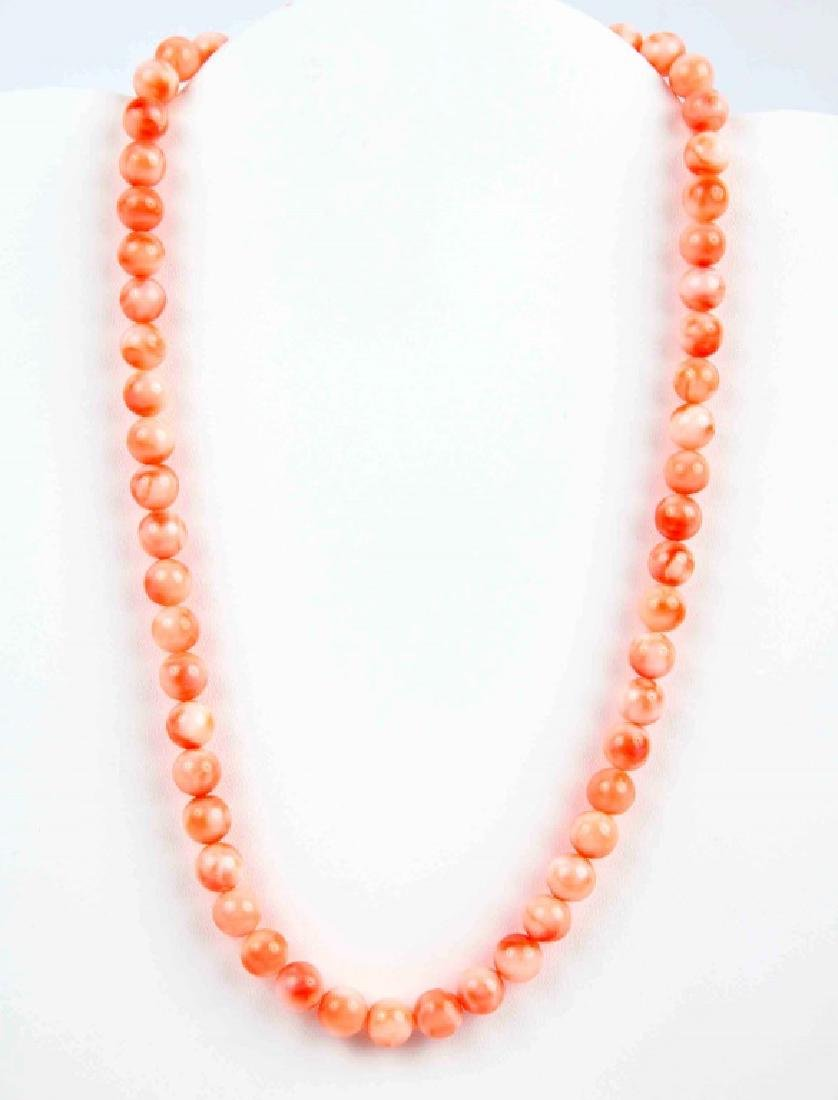 ANGEL SKIN CORAL BEADED NECKLACE