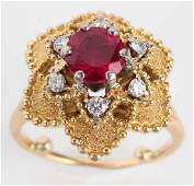 LADIES 18K YELLOW GOLD RED SPINEL DIAMOND RING