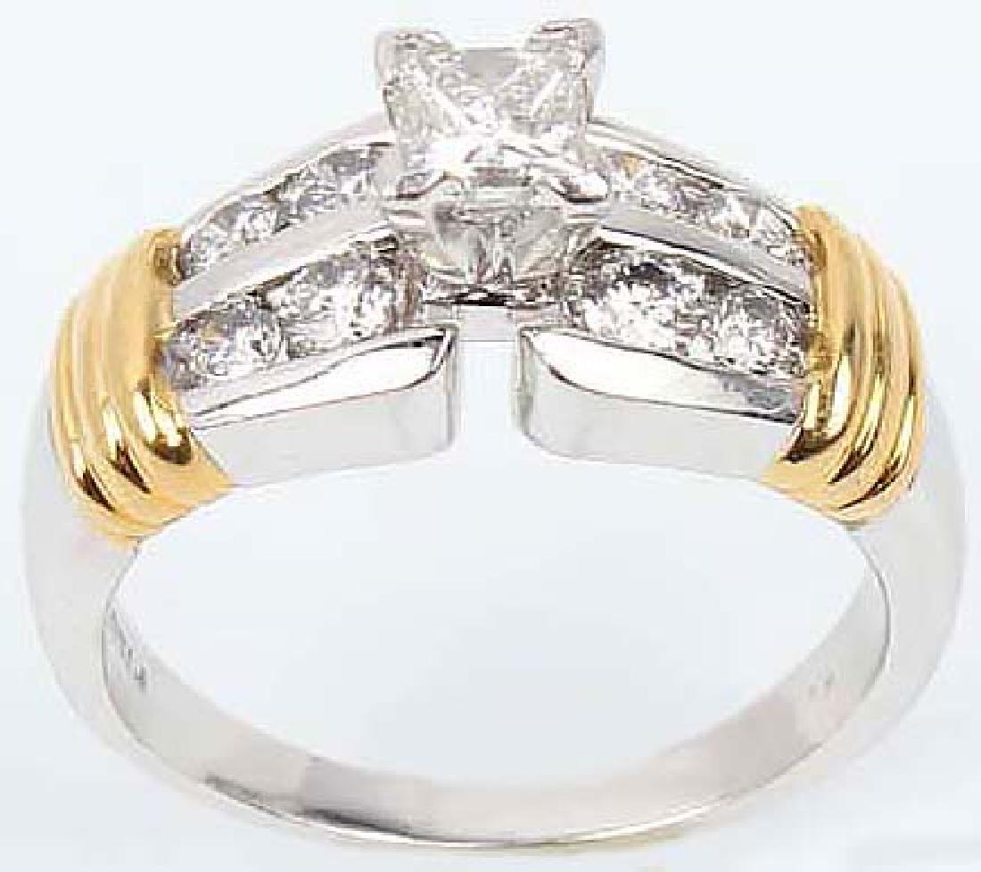 LADIES PLATINUM & 18K DIAMOND WEDDING RING