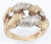 18K YELLOW  WHITE GOLD DIAMOND FASHION RING