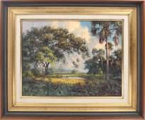 ALBERT BACKUS FLORIDA WETLAND LANDSCAPE PAINTING