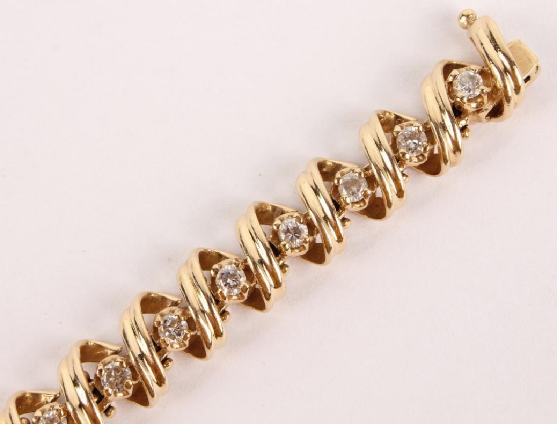 LADIES 14K YELLOW GOLD DIAMOND TENNIS BRACELET - 4