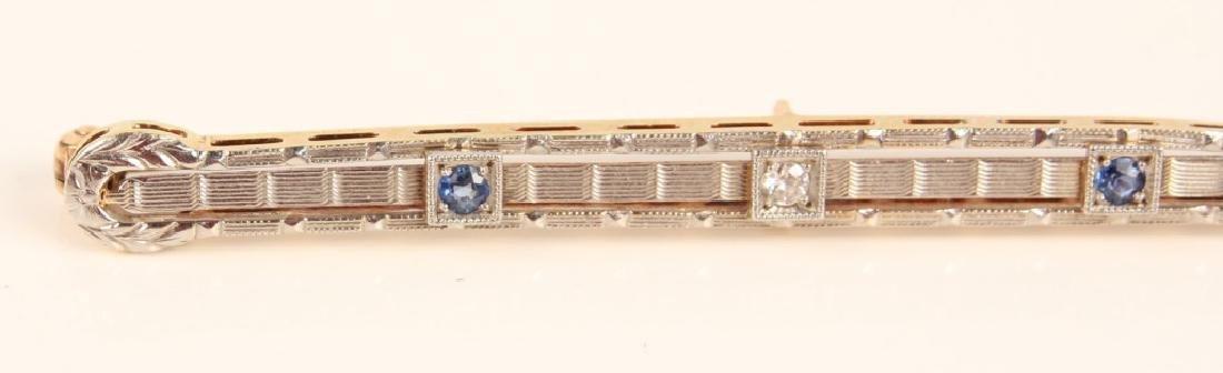 14K GOLD SAPPHIRE & DIAMOND ART DECO STYLE BROOCH - 2