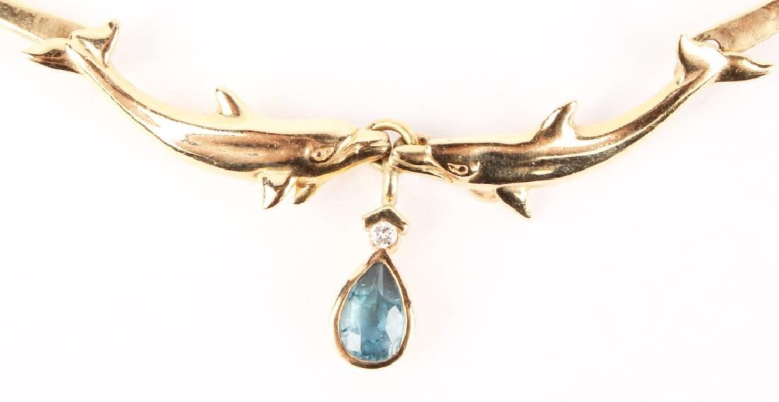 LADIES 14K YELLOW GOLD DOLPHIN NECKLACE - 2