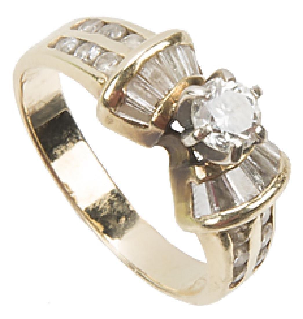 LADIES 14K YELLOW GOLD DIAMOND WEDDING RING - 2