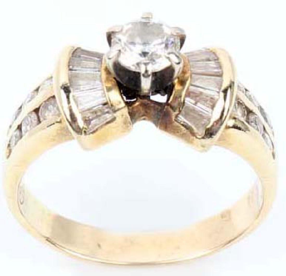 LADIES 14K YELLOW GOLD DIAMOND WEDDING RING - 4