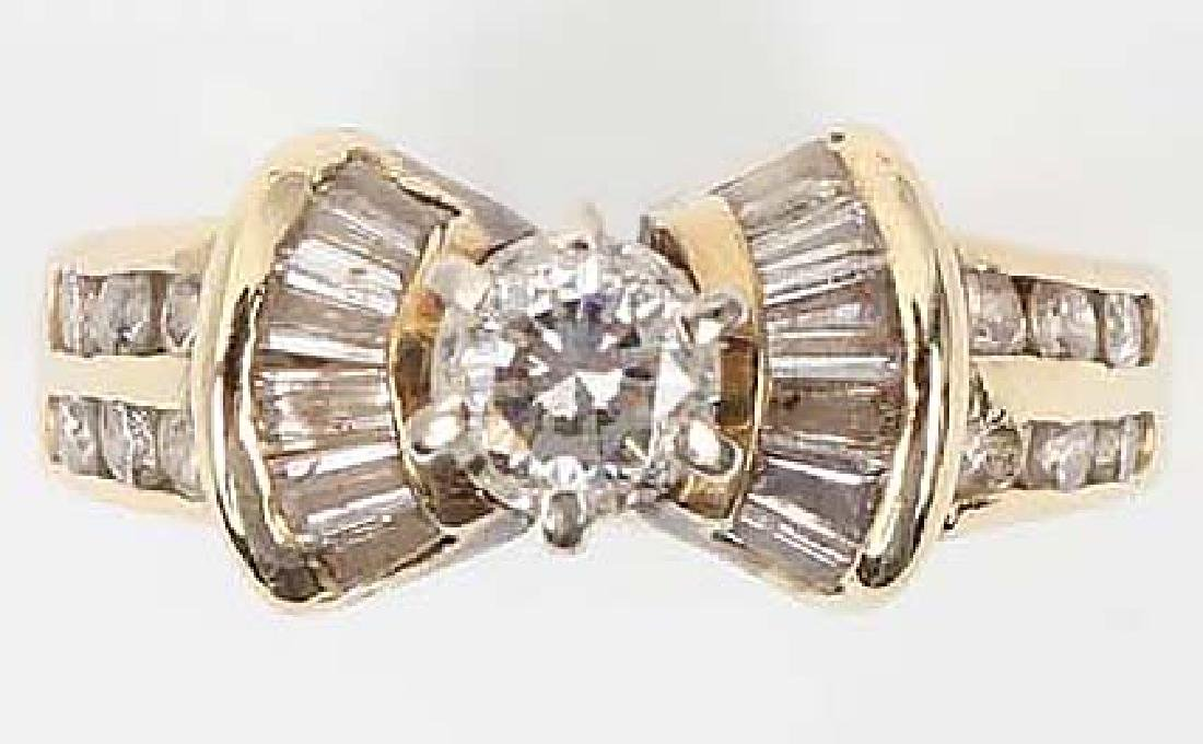 LADIES 14K YELLOW GOLD DIAMOND WEDDING RING - 8