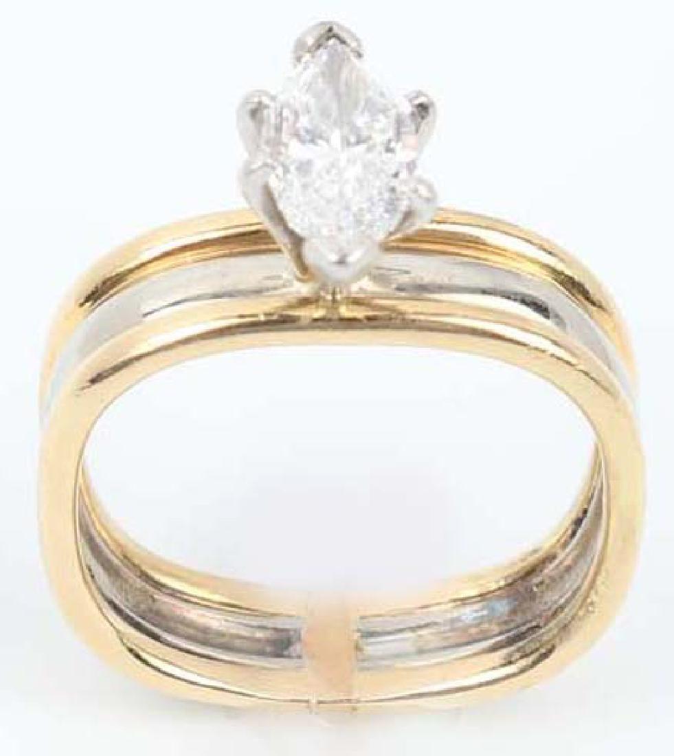 LADIES 18K MARQUISE 1.01CT DIAMOND RING GIA E / IF