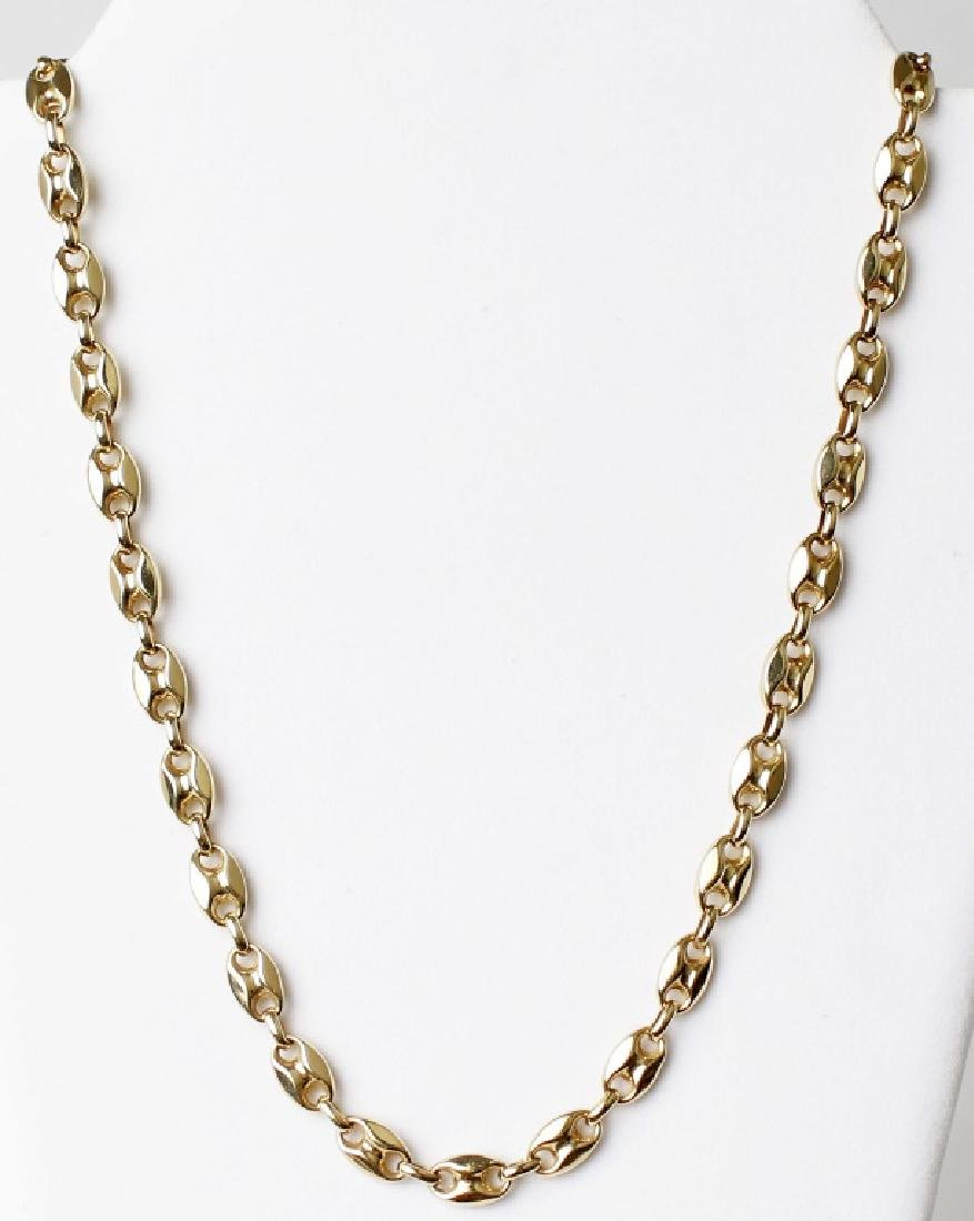 MENS 14K YELLOW GOLD ANCHOR LINK CHAIN NECKLACE