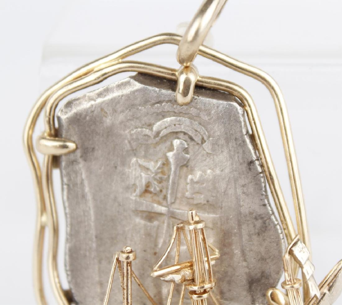 SPANISH PIECE OF 8 IN 14K YELLOW GOLD SHIP PENDANT - 6