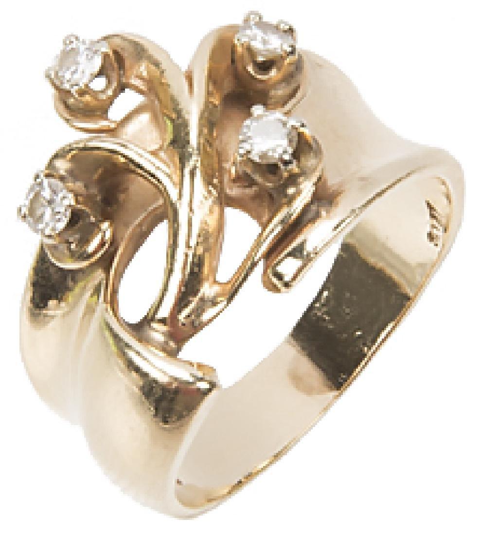 LADIES 14K YELLOW GOLD DESIGNER RING