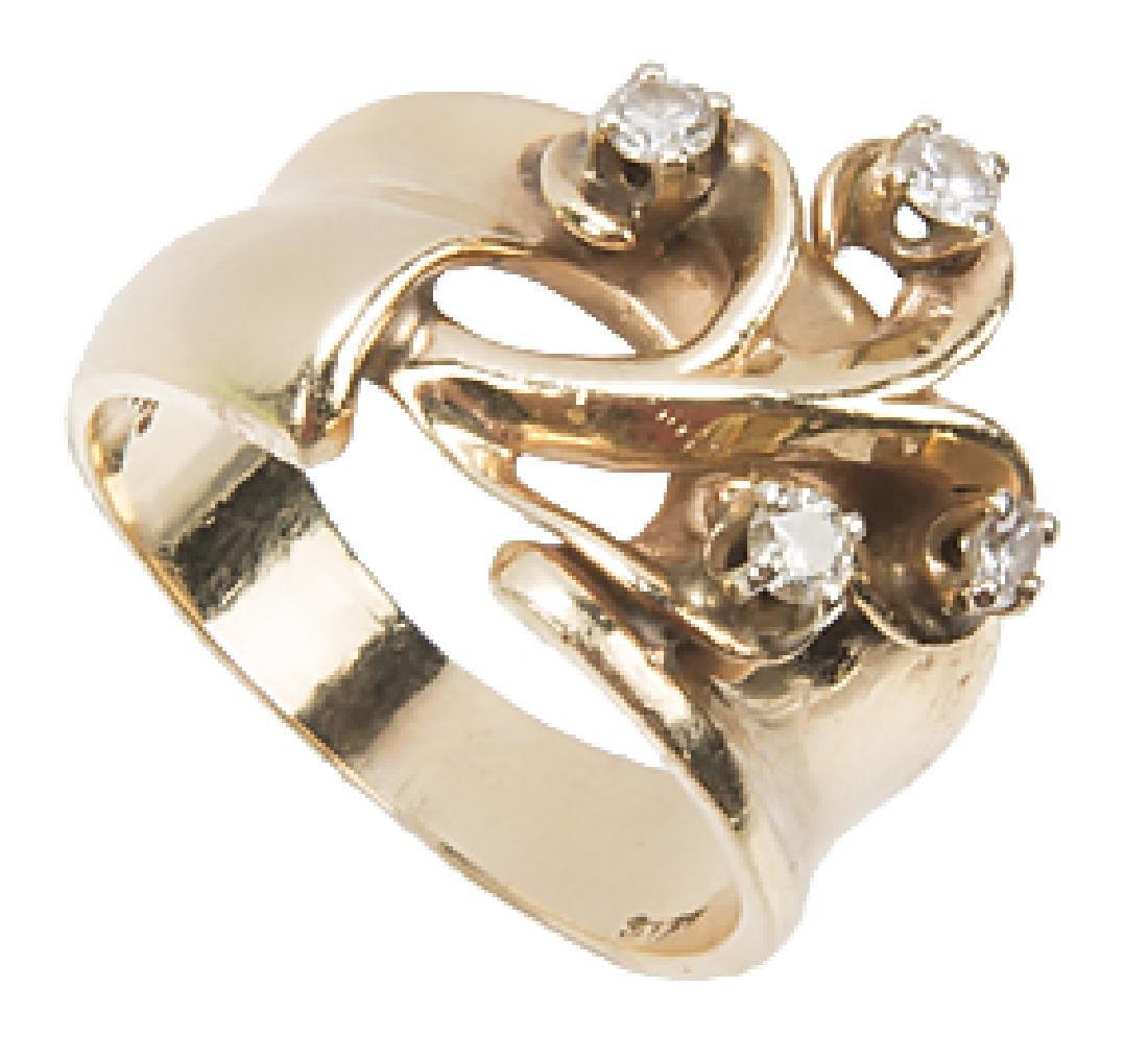 LADIES 14K YELLOW GOLD DESIGNER RING - 2