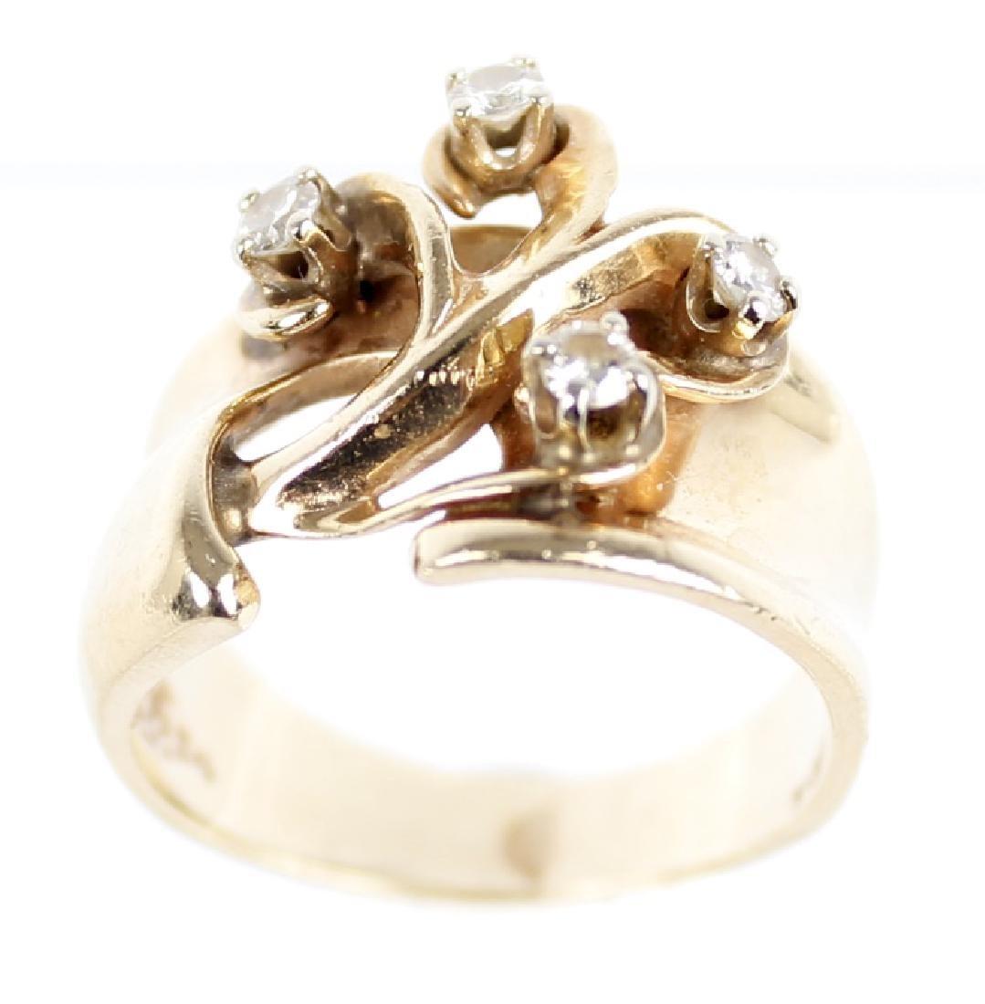 LADIES 14K YELLOW GOLD DESIGNER RING - 3