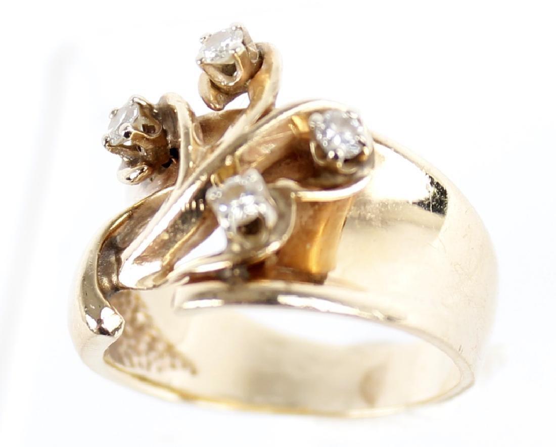 LADIES 14K YELLOW GOLD DESIGNER RING - 4