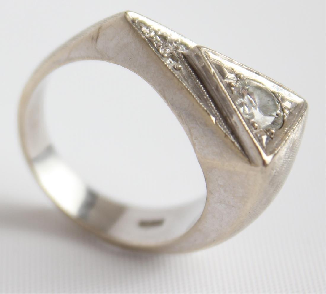 MENS 14K WHITE GOLD TRIANGULAR DIAMOND RING - 3