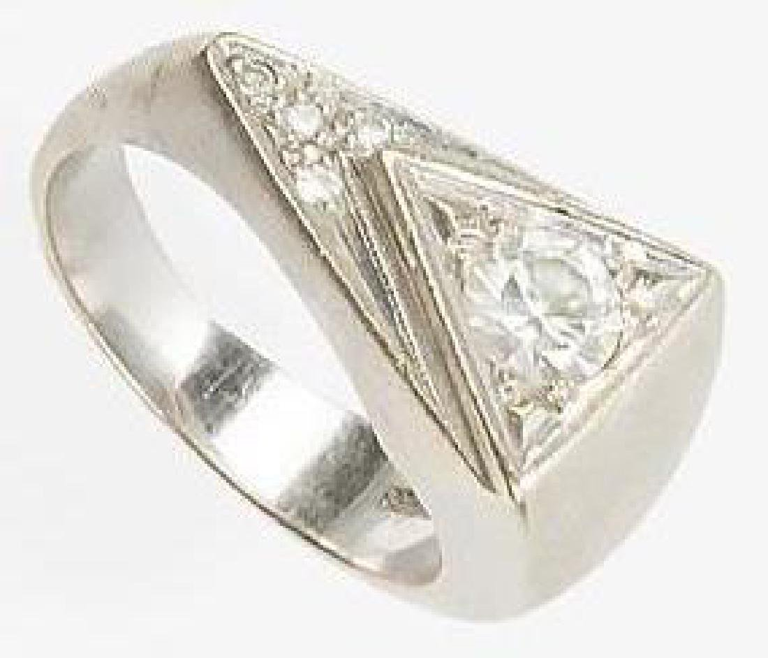 MENS 14K WHITE GOLD TRIANGULAR DIAMOND RING - 4