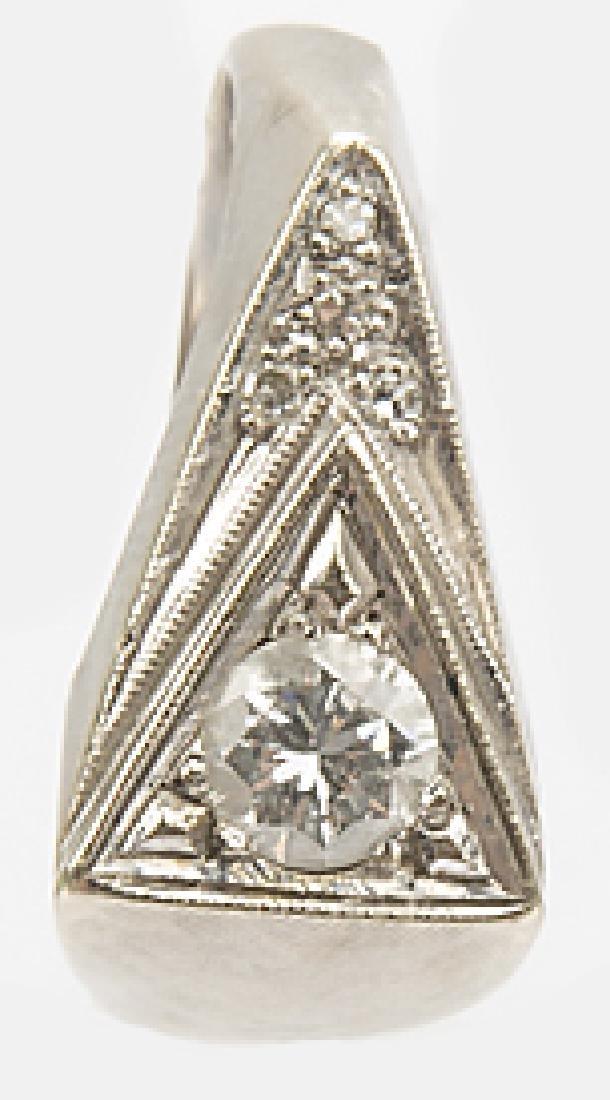 MENS 14K WHITE GOLD TRIANGULAR DIAMOND RING - 5