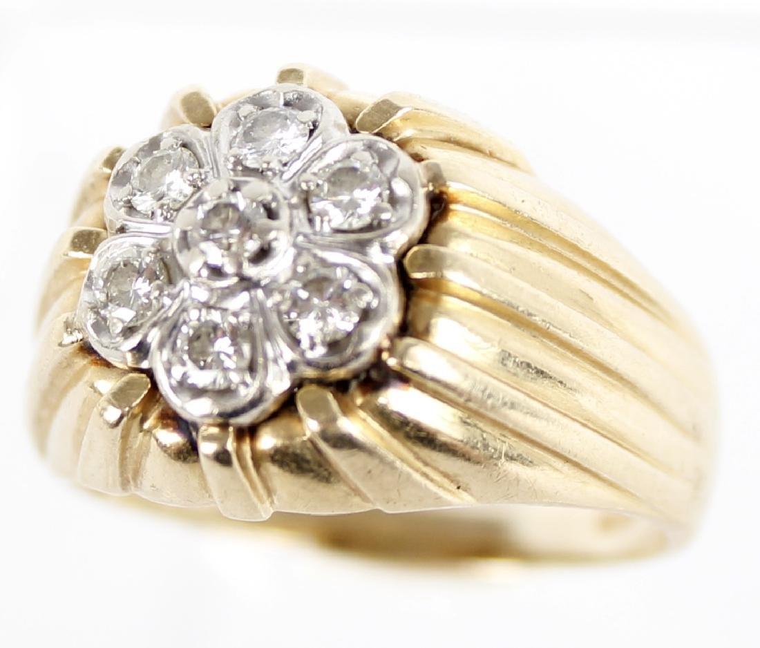 MENS 14K YELLOW GOLD DIAMOND RING - 2