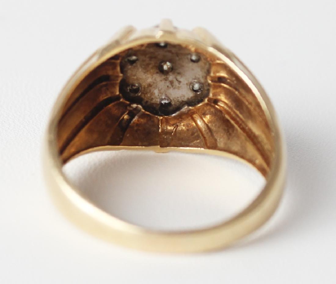 MENS 14K YELLOW GOLD DIAMOND RING - 3