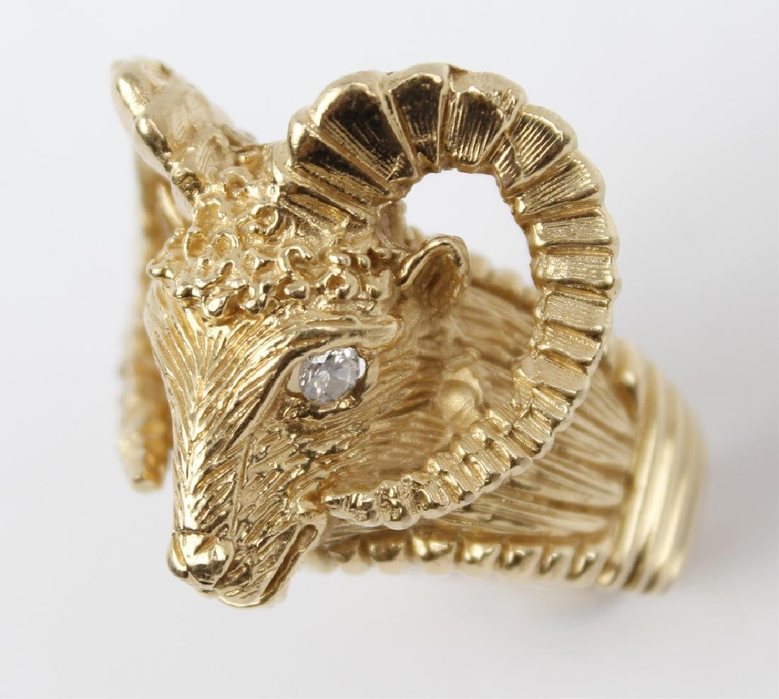 MENS 14K YELLOW GOLD RAM HEAD RING - 3