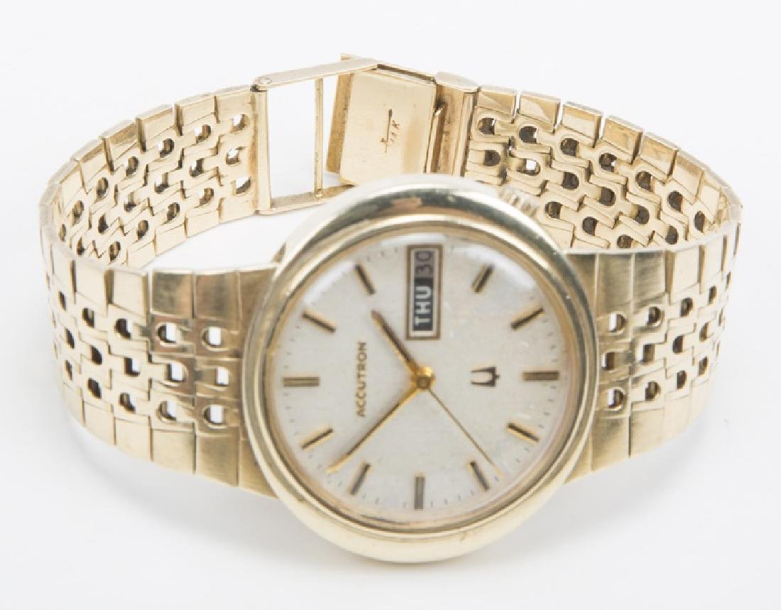 GENTLEMENS SOLID 14K GOLD ACCUTRON BULOVA DAY DATE - 2