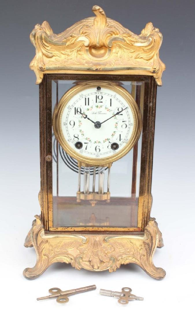 SETH THOMAS BRASS ART NOUVEAU MERCURY MANTLE CLOCK