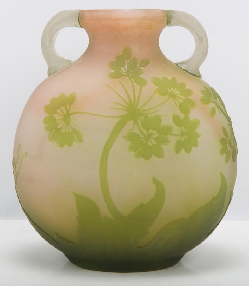 EMILE GALLE FRANCE CAMEO ART GLASS FLORAL VASE