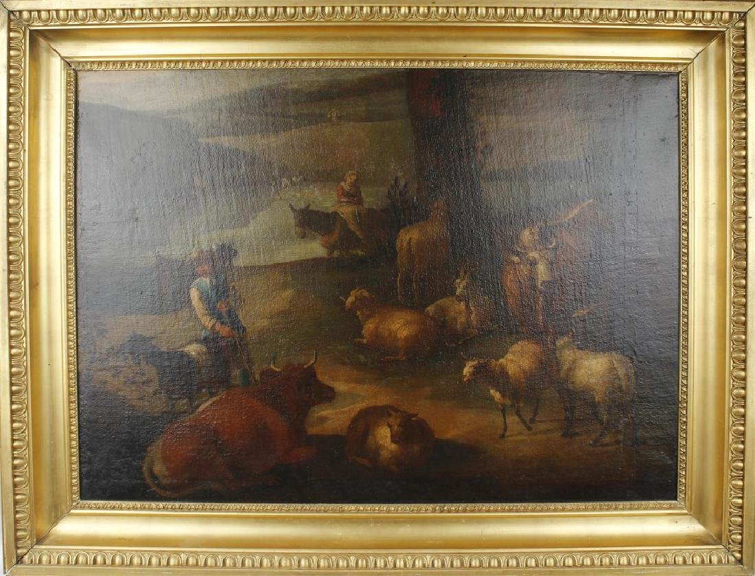 EUROPEAN 18TH CENTURY OIL ON CANVAS COUNTRYSIDE