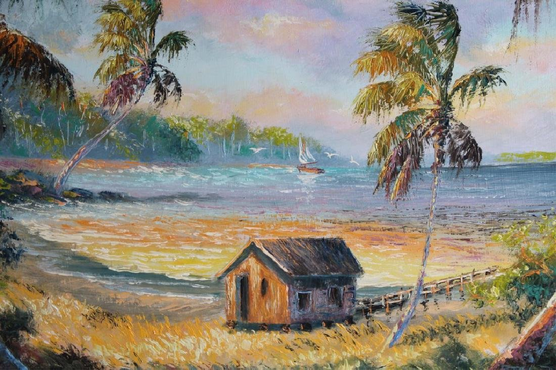 SAM NEWTON FLORIDA HIGHWAYMEN OIL ON BOARD - 2