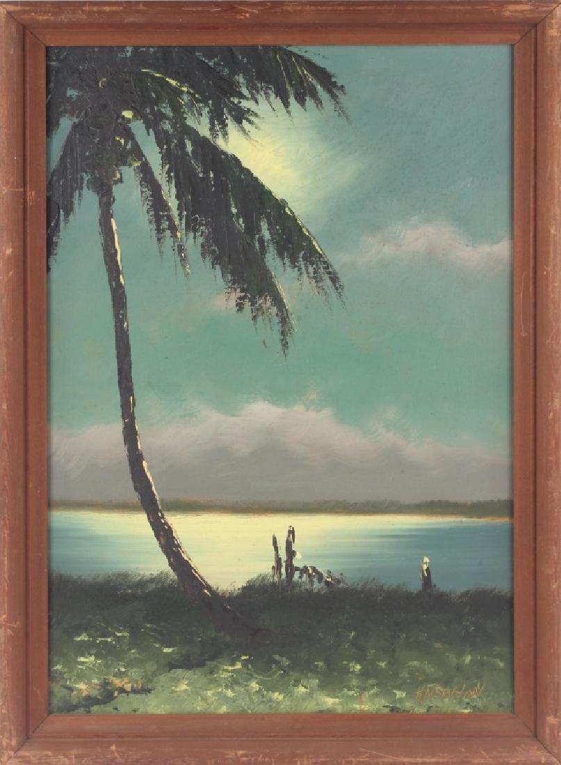 FLORIDA HIGHWAYMEN HAROLD NEWTON OIL ON BOARD