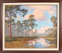 ALBERT BACKUS FLORIDA BACKWOODS MARSH LANDSCAPE