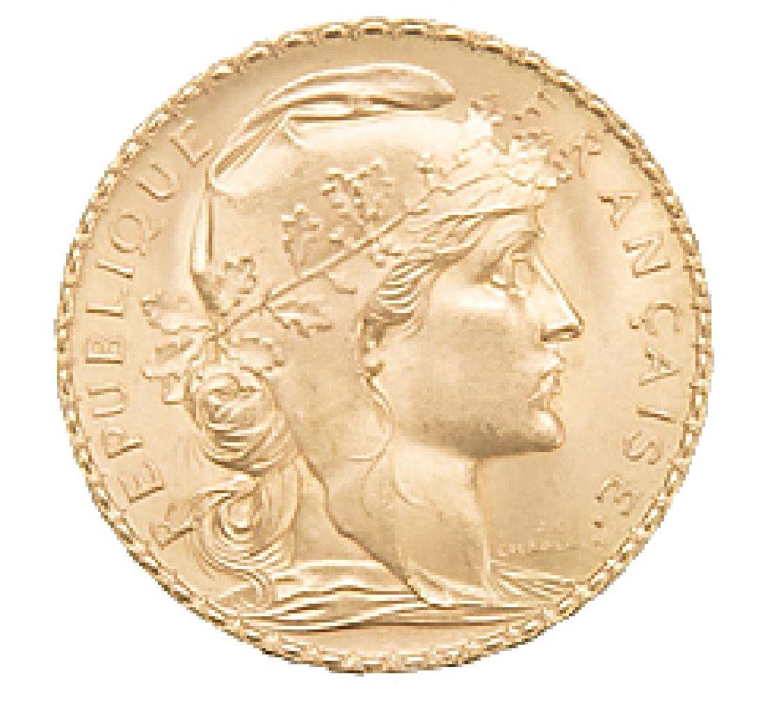 1910 SWISS 20 FRANCS FRENCH ROOSTER GOLD COIN