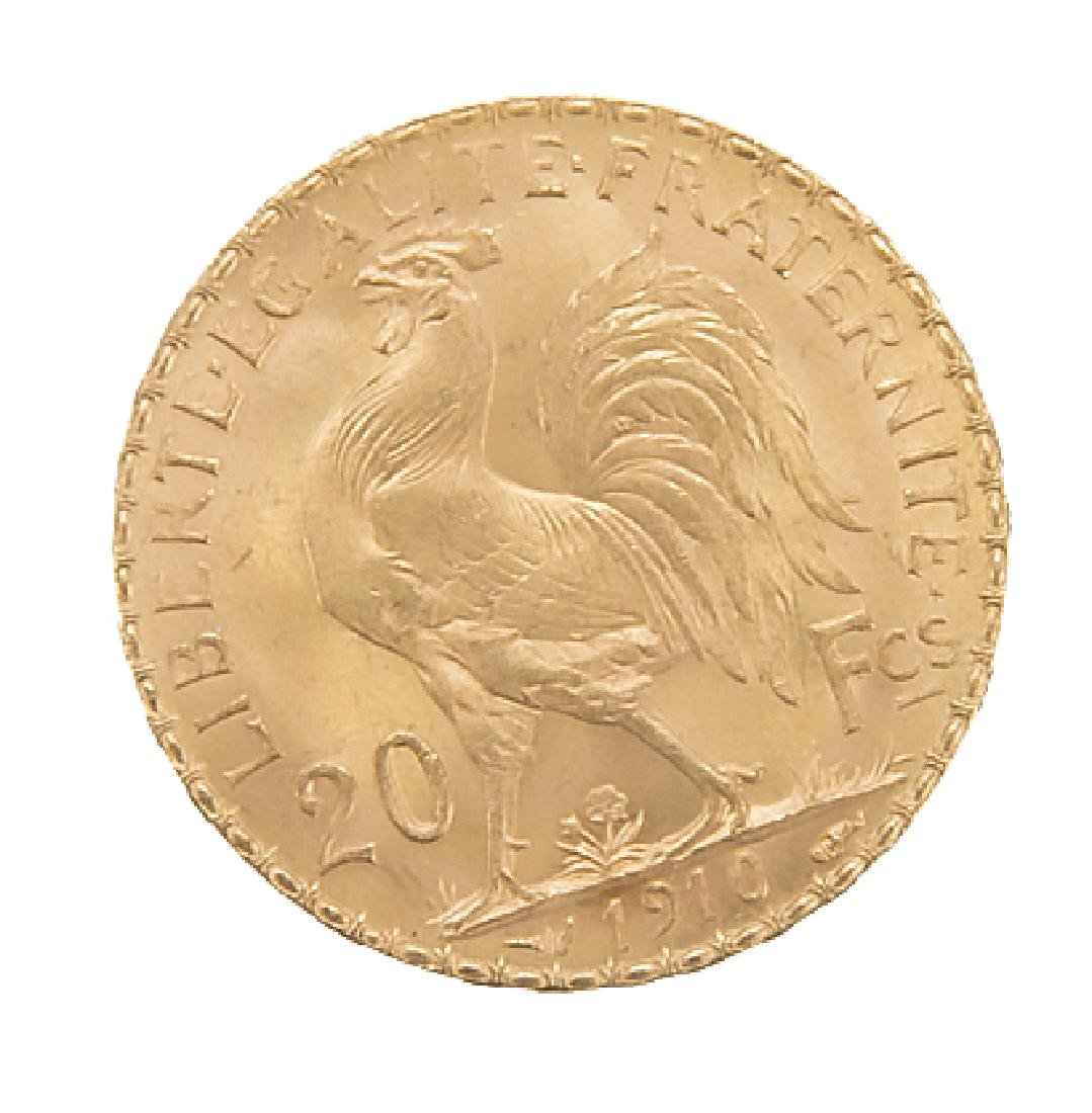 1910 SWISS 20 FRANCS FRENCH ROOSTER GOLD COIN - 2